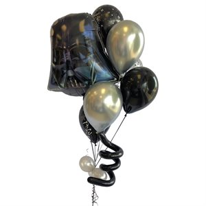 BALLOONS ARRANGEMENT - DARTH VADER BLACK & GRAY WITH CONF.