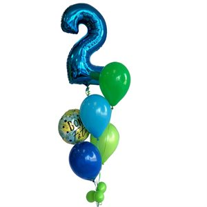 BALLOONS ARRANGEMENT - 2 YRS OLD 34 PO. GREEN & BLUE
