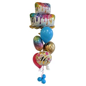BALLOONS ARRANGEMENT - BIRTHDAY CAKE WITH 16 YRS OLD