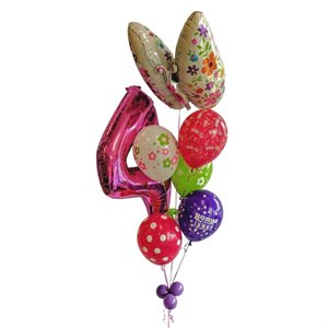 BALLOONS ARRANGEMENT - 4 YRS OLD WITH BUTTERFLY