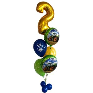 BALLOONS ARRANGEMENT - 2 YRS OLD 34 IN . WITH TRACTOR