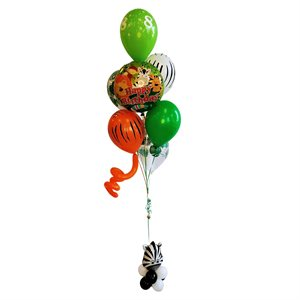 BALLOONS ARRANGEMENT - HB SAFARI WITH SMALL ZEBRA BASE