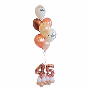 BALLOONS ARRANGEMENT - ROSEGOLD AND CHAMPAGNE BASE 45 YRS OL