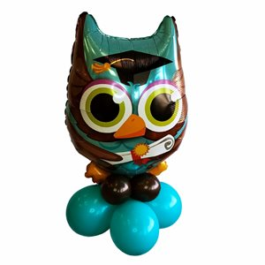 AIR FILLED BALLOONS WITH GRADUATION OWL 34 IN. FOIL