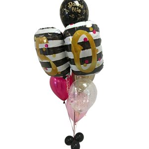 BALLOONS ARRANGEMENT - 50 BLACK AND GOLD