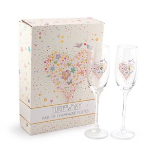 BOX OF 2 TURNOWSKY CHAMPAGNE FLUTES-WEDDING HEART