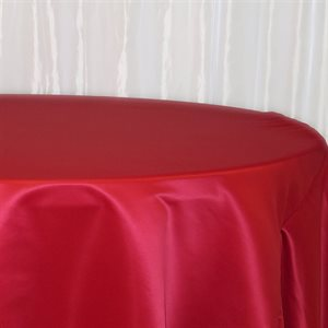 BRIDAL SATIN ROUND TABLECLOTH 132'' - RENTAL