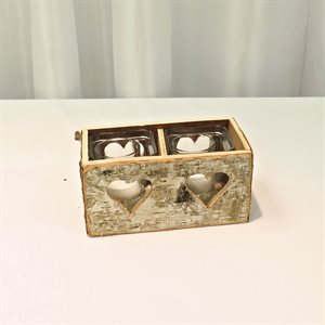 WOODEN DOUBLE VOTIVE HOLDER - RENTAL